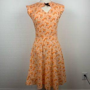 Bernie Dexter Dress Fox Print Orange Retro Pinup